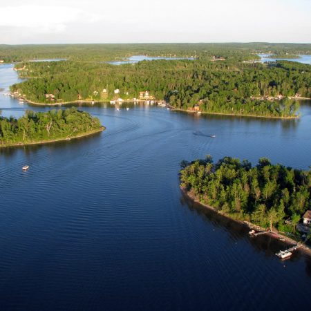 Lake Metigoshe Campground, Manitoba, Canada - Aerial Lake Shot