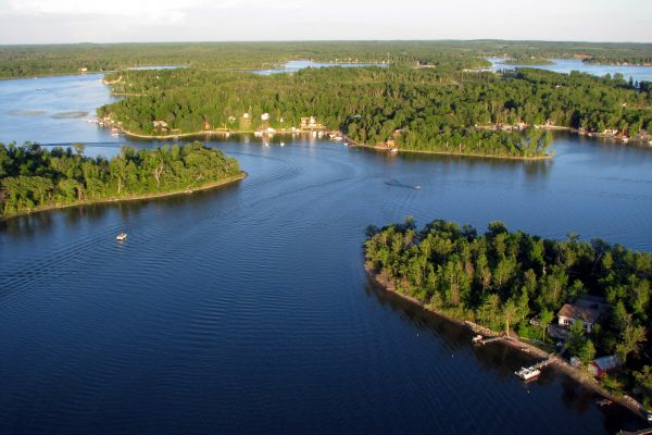 Lake Metigoshe Campground, Manitoba, Canada - Aerial Lake Shot